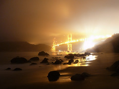 Golden Gate Bridge after midnight
