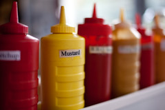 Red and yellow condiments