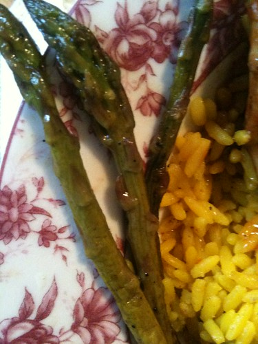 Close/up of sauteed asparagus