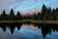 The Alpenglow of Schwabacher's Landing (mattsantomarco) Tags: park morning blue autumn trees red mountains reflection green fall colors beautiful pine clouds america forest sunrise matt landscape high pretty dynamic hole grand jackson landing national wyoming tetons range epic hdr alpenglow schwabachers anawesomeshot santomarco