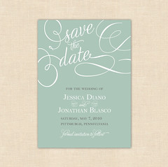 Calligraphy Inspired Save the Date Card