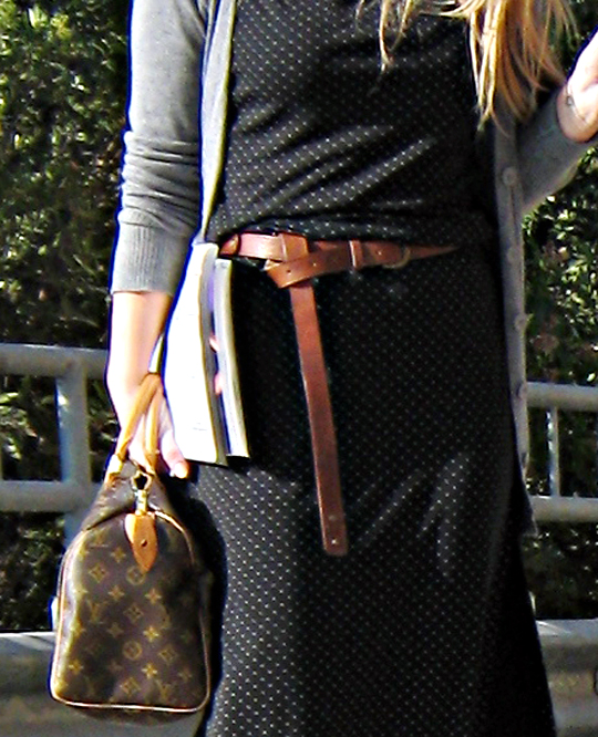 louis vuitton+polka dotted dress+gray cardigan+brown leather belt