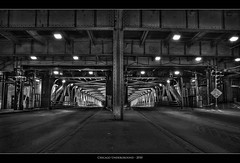 Chicago Underground (Sebastian (sibbiblue)) Tags: camera bridge blackandwhite bw usa chicago america underground trafficlight nikon traffic tunnel architektur below wrigleybuilding hdr multiexposure photomatix bwhdr nikond40