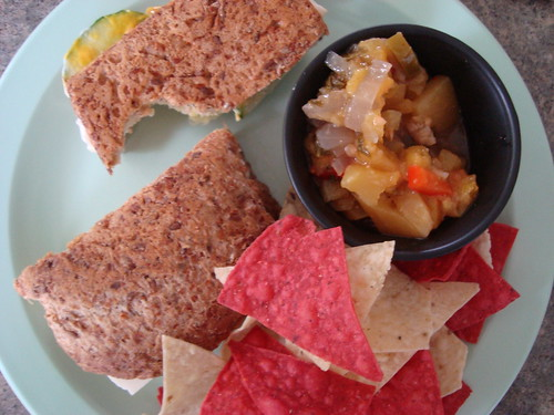 lunch! cheese and cucumber sandwich with homemade peach salsa and chippies!