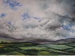 Pastel landscape. (jan farthing) Tags: sky art nature clouds landscape pastel traditional