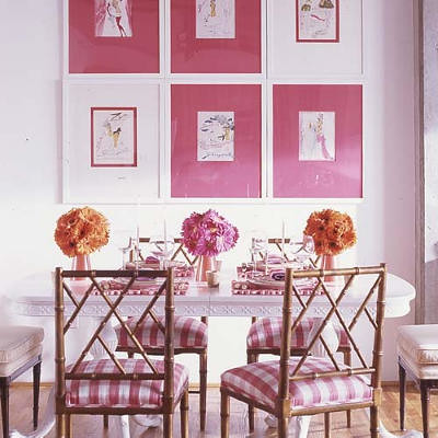 Pink & White Dining Room