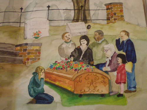 Watercolor of a funeral