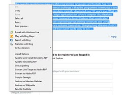 IE9 beta context menu