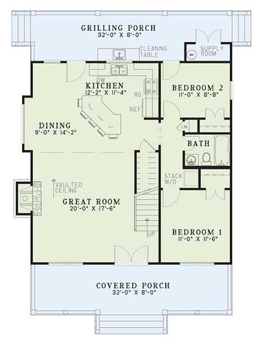 Rental Cottage First Floor Plan. 2 Bedrooms ...