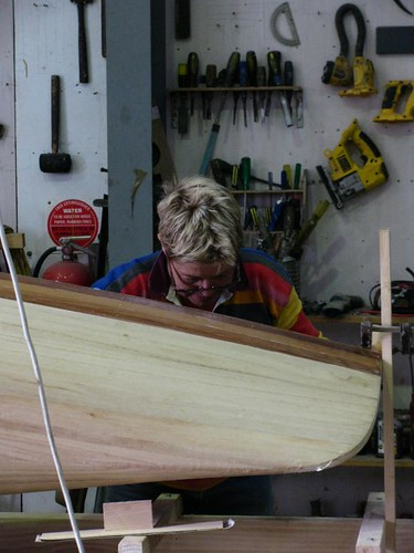 Wooden Boat Magazine Nymph strip plank canoe being built at the Duck Flat boatbuilding school, Adelaide.