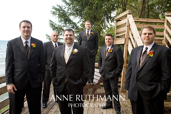 Groomsmen on Lake Deck