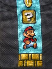 Super Mario Bookmark Detail (Virginia's Virtues Too) Tags: crossstitch nintendo mario nes bookmark goomba supermario