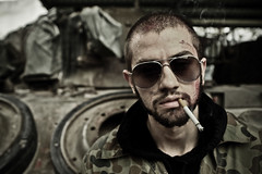 We don't play (Xiangk) Tags: portrait sunglasses army gangster colombian cigarette military smoke badass smoking aviators