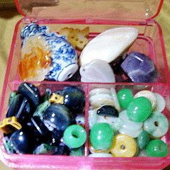 Big stone, jade and ceramic bead box