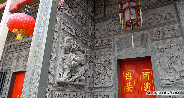 Elaborate carving on the wall and pillars