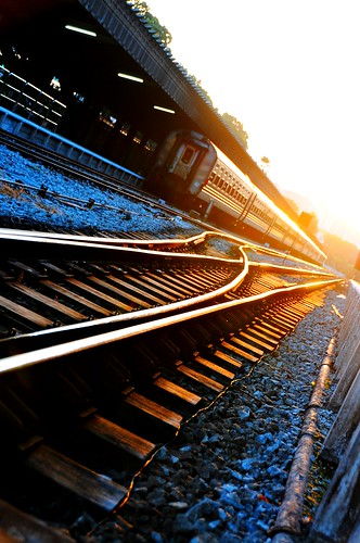 A Train and a Sunset at Tanjong Pagar Railway Station