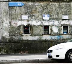 Stadion Como (zahn-i) Tags: auto voyage travel white travelling car wall grande punto reisen fiat grau journey estadio stadion weiss beton mauer reise   verwittert