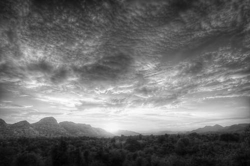 Kanchanaburi Sunset a la HDR, #2 B&W