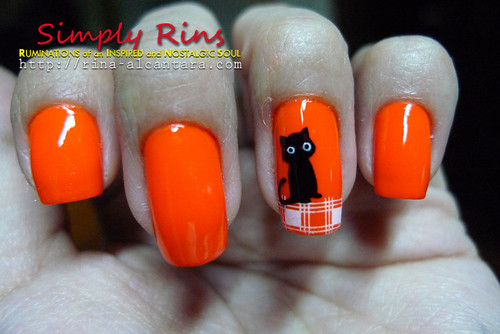 Nail Art Halloween Black Cats 02