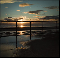 Liver'Puddle'ian sunset at Crosby beach, #1, Explored! (Ianmoran1970) Tags: blue sunset sea sky cloud beach water fence landscape fenced mersey windfarm crosby anotherplace explored ianmoran ianmoran1970