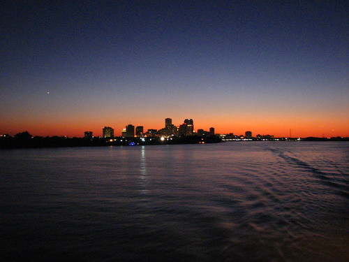 sunset and the city of new orleans