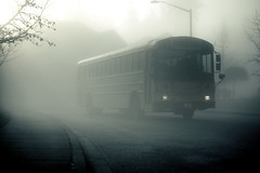 Our ghost bus (sparth) Tags: seattle morning bus fog early washington ghost foggy redmond february schoolbus brouillard 2010 sammamish 5dmkii