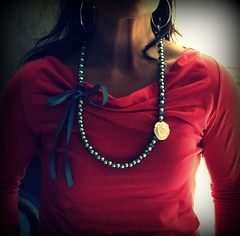 Vera Rose and  Ribbon Necklace (twillypop) Tags: rose pearls antiqueblue ribbonnecklace twillypopblu