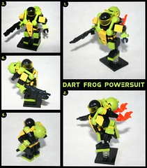 Dart Frog Powersuit (tin) Tags: black green colors yellow jump neon power lego bright chainsaw bap banana frog foliage suit flame prototype chuck lancer dart tropics booster norris powersuit hardsuit atin zsuit brickarms zeessi