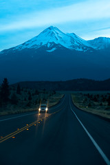 North Face Of Mt. Shasta @ 70 mph (Amicus Telemarkorum) Tags: california road mountain home night driving traffic roadtrip return northern mtshasta jeffreyrueppelphotograpy