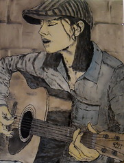 Real Good... For Free! (kaeuflin) Tags: world music woman girl wall painting freedom back paint play guitar think dream free sing sit singer oil problems jonimitchell betterworld songwirter kuflin kaeuflin