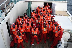 Sea survival suit drill (bowsawblogger) Tags: red men boys gnome lads antarctica rubber suit numbers crew southgeorgia smurf fishingboat falklands drysuit wetsuit drill allinone vikingbay 483 neoprene deckhands ccamlr crewsaver longlinefishing seasurvivalsuit