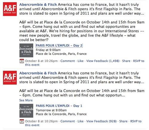 Page Facebook Abercrombie & Fitch débarque en France