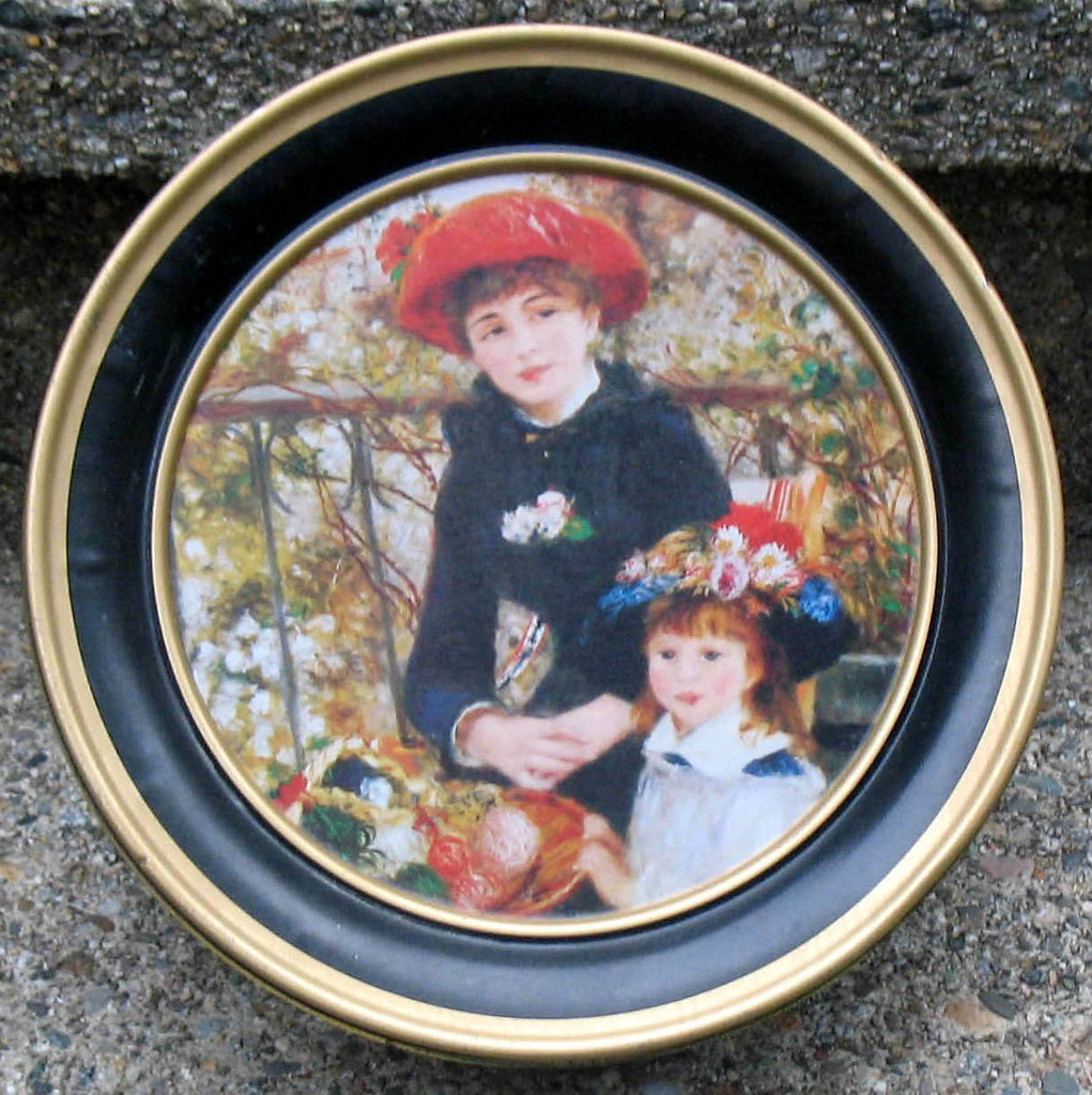 Mostly Chic RENOIR Cookie Biscuit Storage Tin Round 'TWO SISTERS'