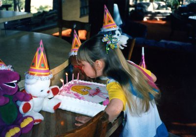 Christina with special guests at her 5th birthday, 1995.