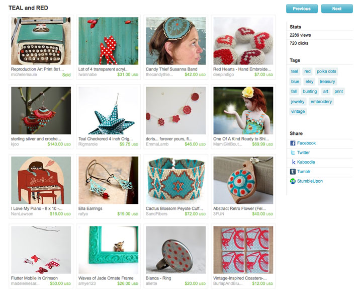 etsy treasury in teal and red