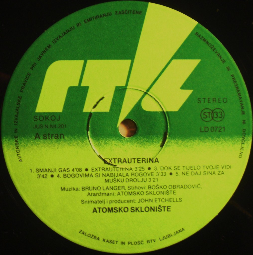 EXTRAUTERINA by Atomsko Skloniste LP label