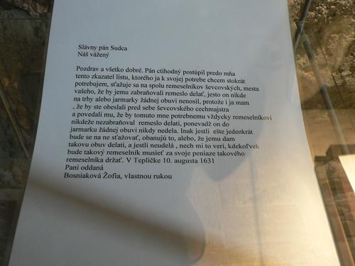 Letter written by Žofia Bošnáková (text) - Strečno - Strečniansky hrad - 112