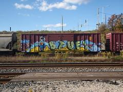 Btuf (paperlampshade) Tags: bench graffiti graff freight cnrail 10172010