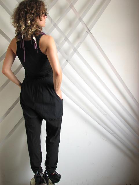 BLACK taperpleat pantaloons