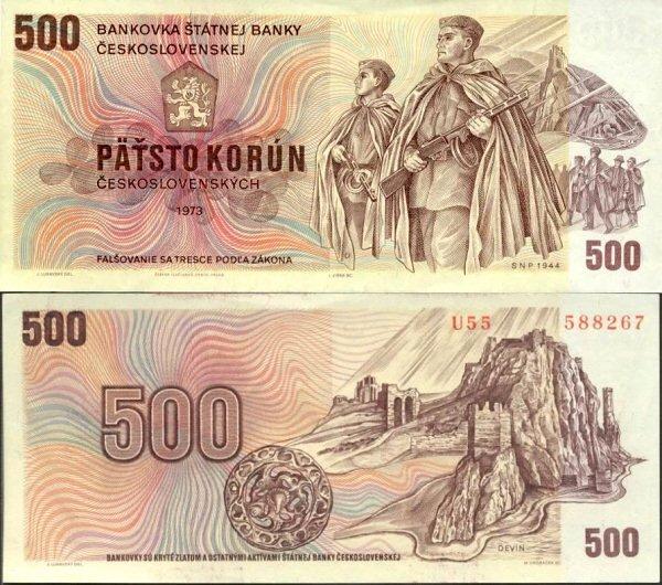 500 Kčs I. Päťsto korún Československo 1973