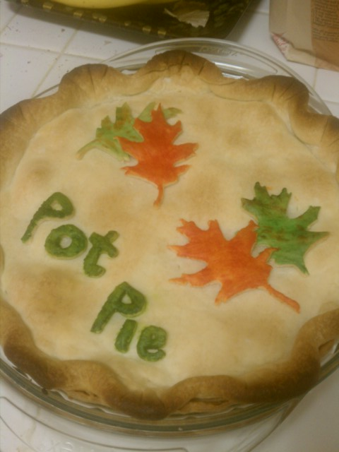 Homemade and decorated Chicken Pot Pie