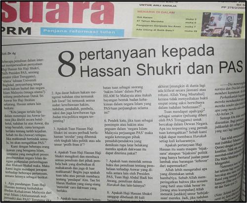 8 Pertanyaan Hassan Shukri Kepada Anwar