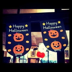 Happy Halloween  (yocca) Tags: autumn halloween window square pumpkin cafe display squareformat happyhalloween 3gs 2010 iphone  iphoneography oct2010 instagramapp uploaded:by=instagram