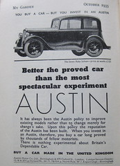 1935 Austin car (wonky knee) Tags: car advertisement vintagecars 1935 austincar mygardenmagazine austin7rubysaloon
