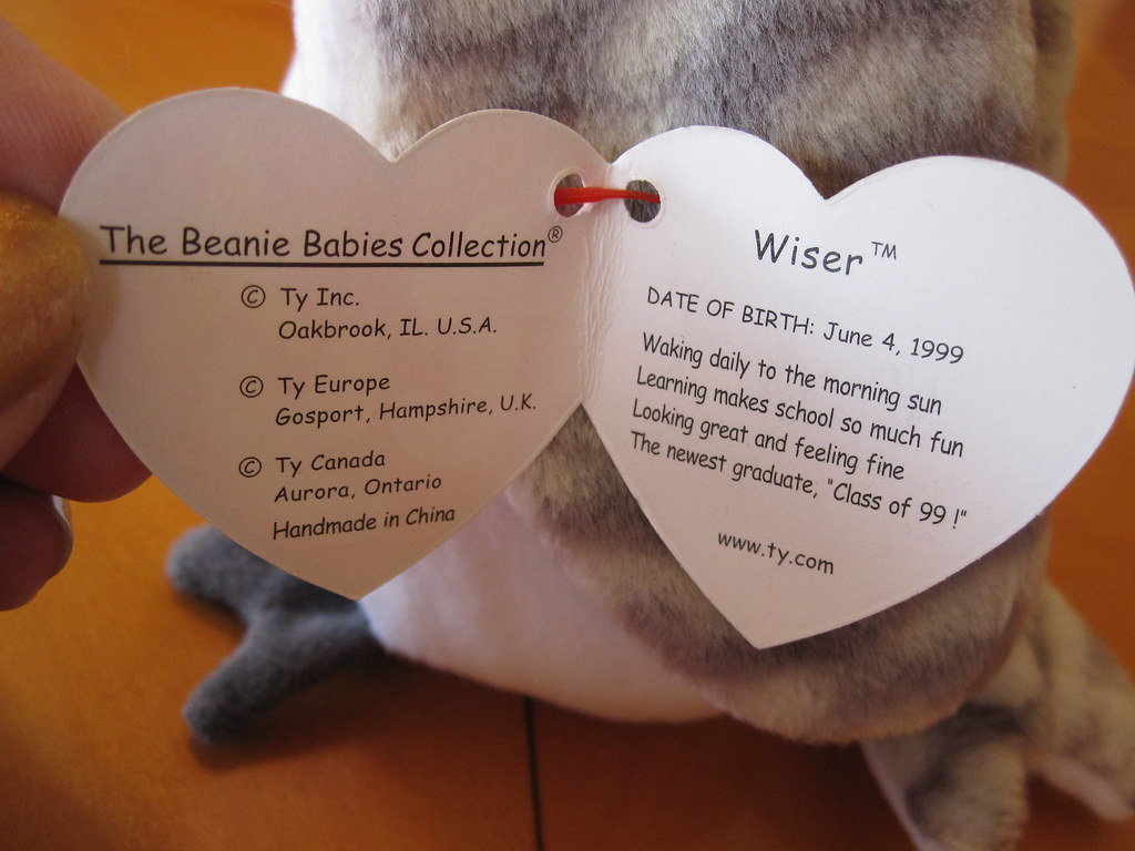 Ty Wiser Beanie Baby Hang Tag