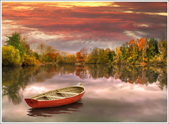 Autumn Light (Jean-Michel Priaux) Tags: autumn trees sunset sky lake france tree art texture nature water colors clouds forest photoshop automne painting landscape boat fishing lac calm reflect alsace paysage hdr barque anotherworld savage sauvage mattepainting littleboat ried priaux sermersheim vanagram kogenheim