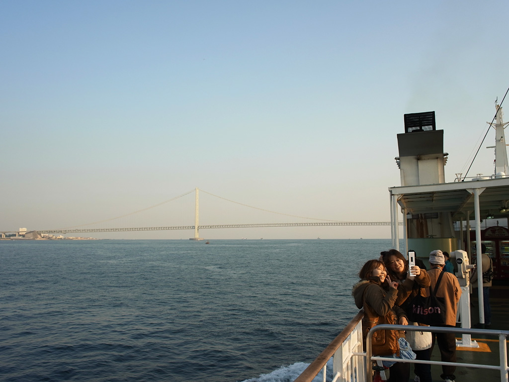 on the Tako Ferry (with Akashi Kaikyo Bridge)