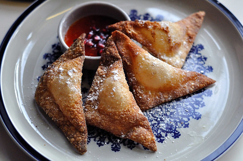 Pomegranate flavored cream cheese Rangoons