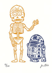 Droid Calaveras Gocco Print (misnopalesart) Tags: art illustration print de dead skeleton skull star robot los screenprint day dia sugar gocco r2d2 silkscreen printmaking muertos wars etsy limited edition droid c3po calavera calaca serigraph printsy