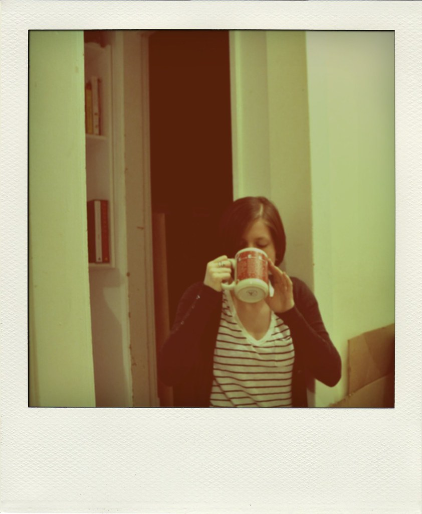 drinking tea in the hallway